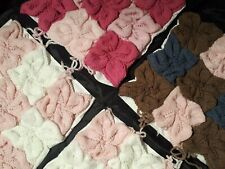4 x Lovely Hand Knitted Cushion Covers. Pink/White/Brown. 40cm x 40cm