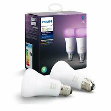 Philips Hue White & Colour Ambiance 2 X Smart Bulbs Pack LED With Bluetooth-E27