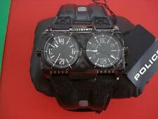 POLICE DESIGNER WATCH DOUBLE TWIN FACE LEATHER ROCK GOTHIC BAND 342.00 NEW