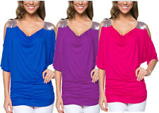Plus Size Women Ladies Casual Loose Off Shoulder T-shirt Short Sleeve Blouse Top