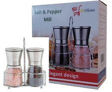 Set of Stainless Steel Salt & Pepper Grinders Mills with Stand / Top Quality