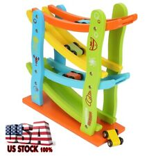 Toddler Toys 3 Year Old Boy And Girl Gifts Wooden Race Track Car Ramp Racer