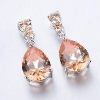 EPIC VAULT- Morganite Stud Pear Dangle Drop Hoop Earrings- 925 Silver Plated