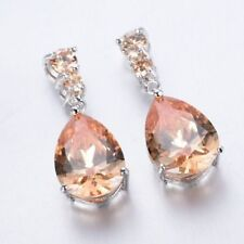 EPIC VAULT-Morganite Stud Pear Dangle Drop Hoop Earrings-Silver Plated