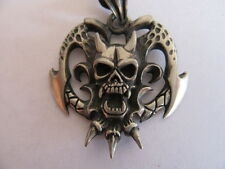 NEW PEWTER HELL RAISERS DEMON NIGHT SKULL NECKLACE WITH ADJUSTABLE BLACK CORD