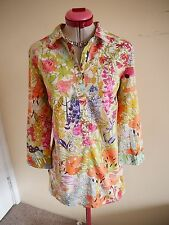 SPORTSCRAFT White Green Pink SHIRT TOP Size 10 LIBERTY Art Fabric Floral Peach