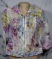 COLDWATER CREEK Beige Multicolor Sheer Burnout Jacket Blazer 4P 6P Unlined Zips