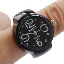 Black Unisex Finger Ring Watch Creative Steel Round Dial Elastic Quartz Gift