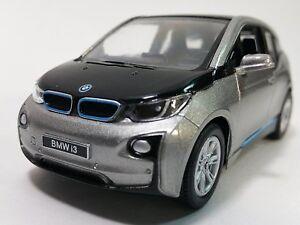 "Brand New 5"" Kinsmart BMW i3 Diecast Model Toy Car 1:32 Pull Action Grey"