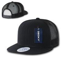 Black Solid Blank Plain Mesh Flat Bill Snapback Trucker Baseball Ball Cap Hat