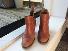 Womens Topshop Tan Leather Ankle Boots Size 5/38