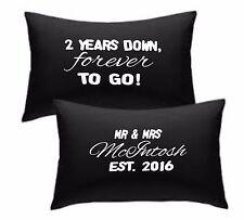 Federa personalizzata Set di 2 anni per sempre verso il basso per andare 2nd anniversario di cotone