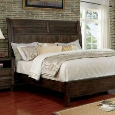 1pc Sleek Design Design Bedroom Queen Size Bed Walnut Wooden Home Furniture