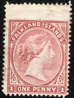 Falkland Islands 1885 pale-claret 1d crown CA sideways mint SG7