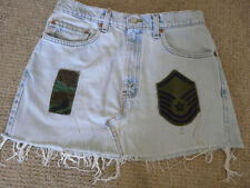 Vintage Levis Cut Off Jean Skirt W32 505 Made In The Usa With Air Force Patches