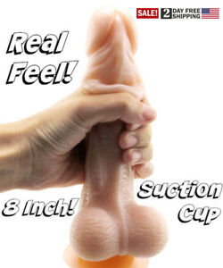 Foreskin Dildo Realistic Real Feel 8.27 Inch Suction Cup Penis Sex Toy USA STOCK