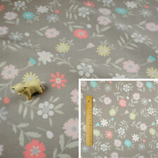 GREY PASTEL Fat Quarter/Meter/FQ Cotton Sewing Craft Sew Fabric Flower Floral