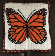 "Vtg 60's Needlepoint PILLOW Monarch Butterfly Felt Backing Metal Zip 14"" X 13"""