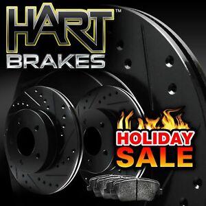 For 2010-2013 Kia Forte Koup, Forte5 Rear Black Hart Brake Rotors+Ceramic Pads