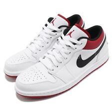 Nike Air Jordan 1 Low AJ1 Blanco Rojo Universitario Hombre Informal Zapatos 553558-118