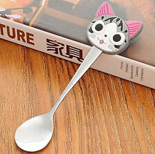 FD2669 Stainless Steel Spoon Portable Silicone Handle Coffee Spoon ~Cat Kitten ♫