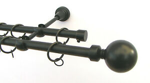 Metal Double Curtain Pole Rail Rod Various Sizes Up To 4m Black 19 & 19mm Rings