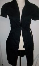 H and M 6 black button front dress swing 50's tie waist preowned guc