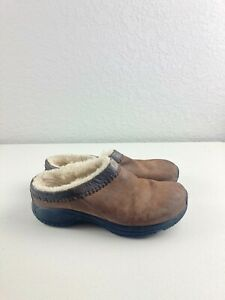 Merrell Womens Size 8.5BROWN SUEDE Slip-On Walking Mules Clogs Slide Sandals