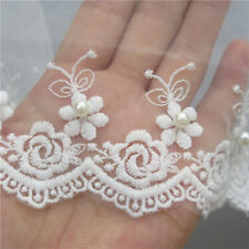 2m Mesh Flower Pearl Lace Trim Wedding Net Ribbon Embroidered Applique Sewing