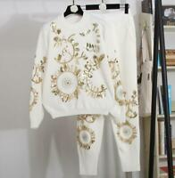 Women 2Pcs Suit Shiny Tops Flower Printing Knitted Long Pant Warm Coat New Haihk