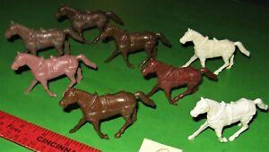 NICE LOT OF MARX BROWN...RECAST...CAISSON/WAGON HORSES..........