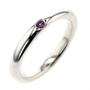 Tiffany & Co. ring Silver925 1P Pink sapphire Stacking band ring US size 5 Auth