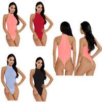 Damen Body Transparent Stringbody Rollkragen High Cut Einteiler Bodysuit Thong