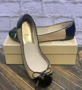 Michael Kors Straw, Gold & Patent Black Jordana Ballet Flats with Bow Size 10