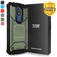 For Motorola Moto G7 Power / Supra Phone Case TJS TankMate Cover +Tempered Glass