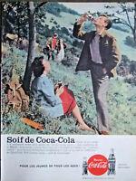 PUBLICITÉ 1959 SOIF DE COCA-COLA PLAISIR D'UNE SORTIE A LA CAMPAGNE ENTRE AMIS