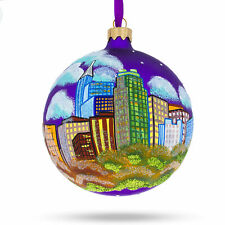 Raleigh, North Carolina Glass Christmas Ornament 4 Inches