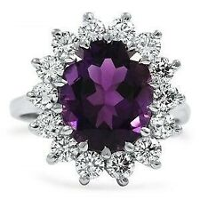 6Ct Oval Amethyst Simulant Diamond Halo Solitaire Ring White Gold Finish Silver