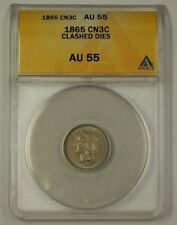 1865 US Three Cent Nickel 3c Copper ANACS AU-55 Heavily Clashed Dies CW (Better)