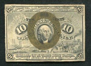 FR 1244 10 TEN CENTS SECOND ISSUE FRACTIONAL CURRENCY NOTE ABOUT UNCIRCULATED