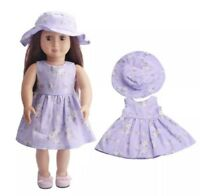 "Girl Doll Clothes Purple Flower Dress & Hat For 18"" Inch Our Generation"