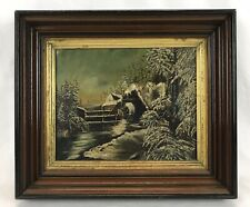 Antique Late 19th C Oil Painting Snow Covered Grist Grain Mill River Landscape