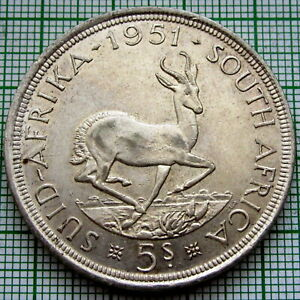 SOUTH AFRICA GEORGE VI 1951 5 SHILLINGS, SPRINGBOK, 0.500 SILVER UNC