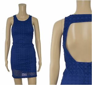 ex Zara Royal Blue Lace Backless Mini Party Occasion Dress