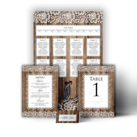 Personalised Rustic Barn Lace Wood Effect Horseshoe Wedding Table Seating Plan