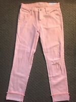 Women's Loft Boyfriend Denim Pants, Light Pink, Size 24 (00), New with Tags