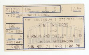 Ringling Brothers Barnum & Baily Circus 11/21/93 Cleveland Richfield Ticket Stub