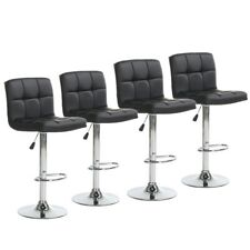 Set of 4 Bar Stools Adjustable Swivel Pub Counter Height Dining Chair Pu Leather