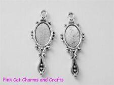10 x Tibetan Silver HAND MIRROR ALICE LOOKING GLASS 3D Charms Pendants Beads