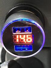 Dual Ports 3.1A USB Car Cigarette Lighter Charger 12V/24V Digital LED Voltmeter